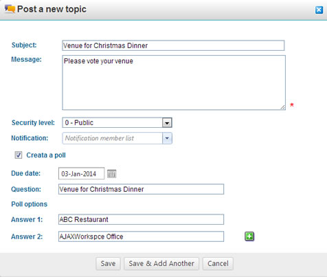 Create a new survey poll in discussion board