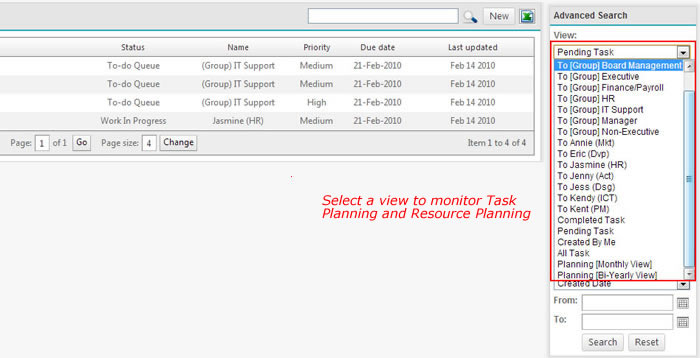 Task workflow list view